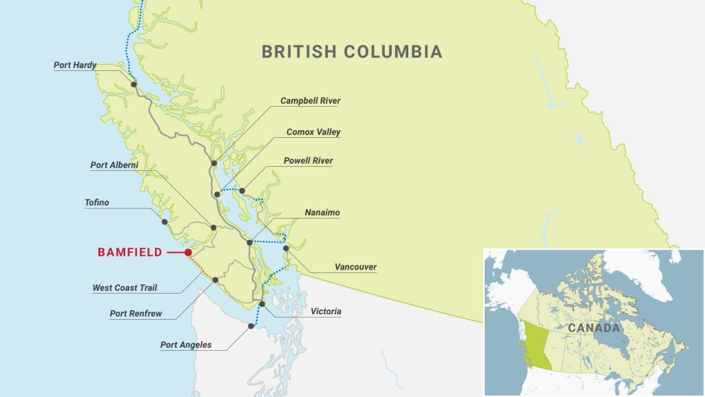 How to get to Bamfield - Map
