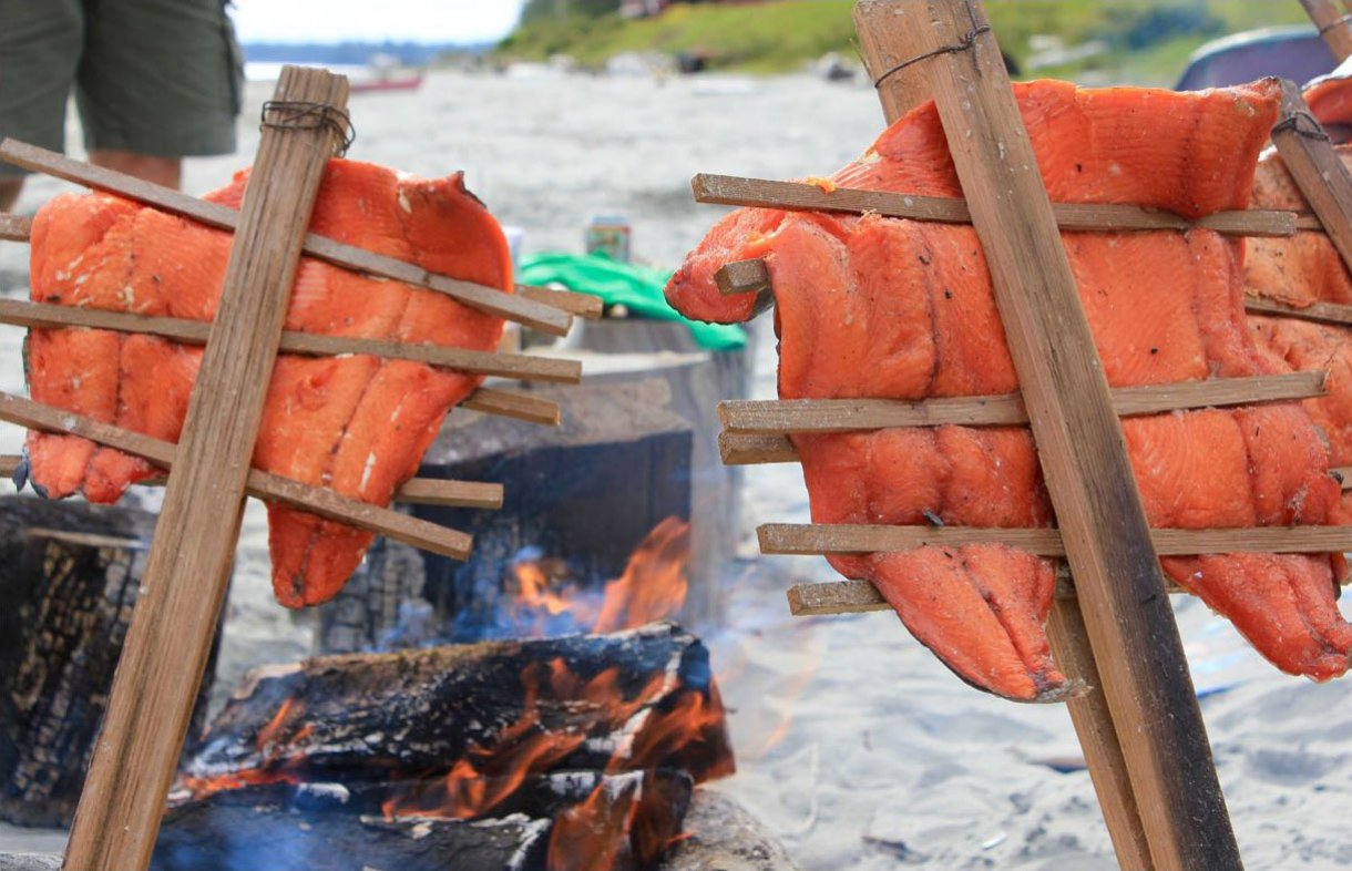 Smoked salmon on the beach